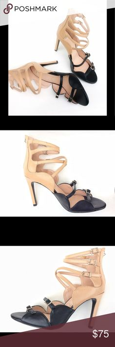 """FAB. ZARA color block Strappy HEELS 8.5 New Zara heels with multiple buckled straps and scalloped design! Oh, my! These are heart stopping! Heels are 4"""". Rubber outsole. By Trafaluc, the risqué Collection Of Zara. Please, notice that in an attempt to remove some glue from the insole, I made a scratch, visible on pic 1. Not visible when wearing them. BUNDLE TO SAVE! Zara Shoes Heels"""