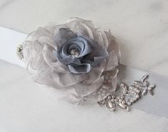 Gray Bridal Sash Slate Blue Wedding Belt with by TheRedMagnolia   TO ADD TO MIC RIBBONS
