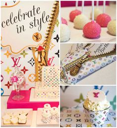 Louis Vuitton themed birthday party with Such Cute Ideas via Kara's Party Ideas | KarasPartyIdeas.com #fashionparty #louisvuitton #partystyl...