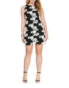 Lauren Ralph Lauren Plus Lace Sheath Dress Women's Black/White 22W