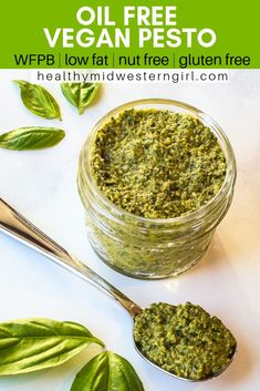 This easy Oil-Free Vegan Pesto is oil-free nut-free dairy-free gluten-free low fat budget-friendlyready in 5 minutes. Healthy Eating Tips, Clean Eating Snacks, Fat Free Vegan, Dairy Free Nut Free Pesto, Gluten Free Vegan, Lactose Free, Vegetarian Recipes, Healthy Recipes, Low Fat Vegan Recipes