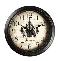 "14.6"" Round ""Carte Postale, Rococo"" Chandelier Detail Wall Hanging Clock"