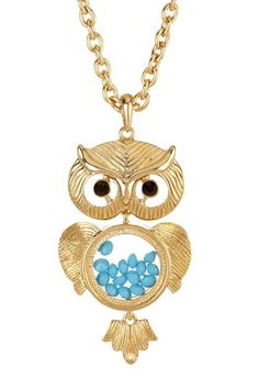 Owl Pendant Necklace - belly beads! so cute