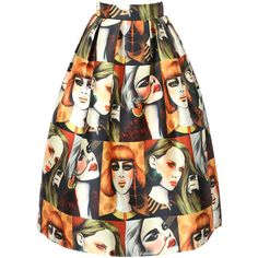 Multicolor Fashion Woman Print A-line Skirt ($39) ❤ liked on Polyvore featuring skirts, colorful skirts, multicolor skirt, a line skirt, knee length a line skirt and multi color skirt