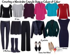 Wardrobe capsule column of colour - how to look taller and slimmer and create 50+ outfits from these few items