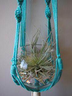 MACRAME turquoise plant hanger