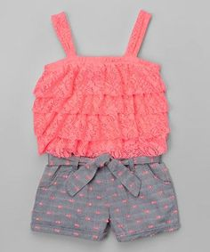 Coral & Gray Lace-Top Romper - Infant, Toddler & Girls