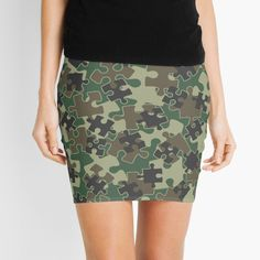 """""""Jigsaw Puzzle Pieces Camo WOODLAND GREEN"""" Mini Skirt by GrandeDuc 