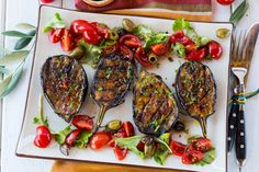 A yummy summer dish--Grilled Spicy Mediterranean Eggplants with Tomato Salad! #eggplantrecipes #grilledrecipes #vegetariangrilledrecipes