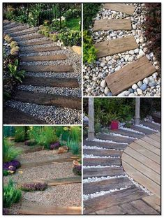 Pave a river rocks or gravel garden path and top it with log sleepers that can be used for paving or as lawn or patio edging. Pave a river rocks or gravel garden path and top it with log sleepers that can be used for paving or as lawn or patio edging. Landscaping With Rocks, Front Yard Landscaping, Landscaping Edging, Landscaping Ideas, Railroad Ties Landscaping, Nautical Landscaping, Paving Diy, River Rock Landscaping, Landscaping Plants