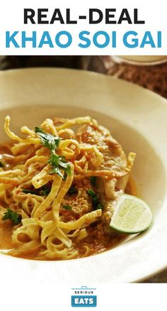 """There's nothing wrong with Americanized """"Thai-style"""" food, but this recipe keeps things traditional. It requires a few hours and a handful of ingredients that you're only going to find at a well-stocked Asian market, but the result is a real-deal bowl of khao soi. It's loaded with turmeric, lemongrass, makrut lime leaves, and Thai black cardamom and it has enough heat to clear out your sinuses, thanks to ginger and Thai bird chilies."""