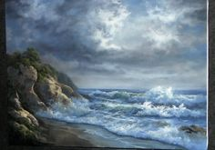 Hear the waves crashing on the rocks? For more information about painting seascapes and other paintings go to www.paintwithkevin.com