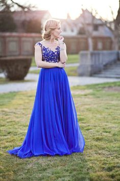 Royal Blue Appliques Real Made Prom Dresses,Long Evening Dresses,Prom Dresses