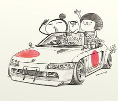 "car illustration""crazy car art""jdm  japanese old school ""BEAT""original cartoon ""mame mame rock""   /   © ozizo"