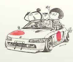 "car illustration""crazy car art""jdm japanese old school ""BEAT""original cartoon ""mame mame rock"" / © ozizo"