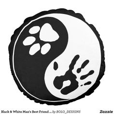"""Black & White Man's Best Friend Ying Yang Symbol Custom Brushed Polyester Round Throw Pillow (16"""") by BOLO Designs."""