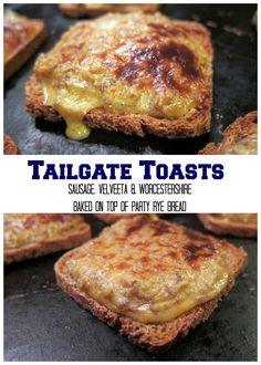 Tailgate Toasts - sausage, Velveeta and Worcestershire baked on top of party rye bread. Freeze for a quick Super Bowl snack! Bread Appetizers, Finger Food Appetizers, Appetizer Recipes, Finger Foods, Tailgating Recipes, Tailgate Food, Grilling Recipes, Barbecue Recipes, Barbecue Sauce