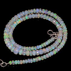 "59CRTS 4to6MM 18"" ETHIOPIAN OPAL FACETED RONDELLE BEADS NECKLACE OBI2129 #OPALBEADSINDIA"