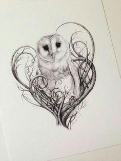 Barn Owl Print, Owl Art, Owl Print, Limited Edition Giclée Print, Pencil Drawn Owl Art For The Home Schleiereule Drucken Eulen Digitaldruck in von Lunarianart Love Tattoos, Beautiful Tattoos, New Tattoos, Body Art Tattoos, Tatoos, Circle Tattoos, Incredible Tattoos, Anchor Tattoos, Owl Tattoo Design