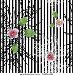 Seamless Pattern Illustration Hand Drawn Doodle Plants with Roses on Black Vertical Stripes - stock photo