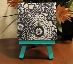 Floral Black and White Mini Canvas with Turquoise Easel, Turquoise Art, Mini Canvas Art, Cutelittlecanvas