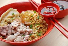 Bak Chor Mee Pok - noodles with minced pork, fish cake in a vinegary chili sauce