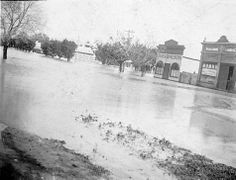 Floodwaters in Horsham. The coach builders shop and Bradshaw 's Carriage Shop were on the north west corner of Hamilton Firebrace Streets, the other white building in the background is Alan's Timber Yards, taken during the flood of South Australia, Western Australia, Coach Builders, White Building, The Other Side, Tasmania, North West, Over The Years