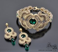 Set of bracelet and earrings,Soutache set,Elegant set,Glamour set,Soutache… Soutache Bracelet, Soutache Jewelry, Bracelet Set, Beaded Jewelry, Beaded Necklace, Pandora Jewelry, Charm Jewelry, Boho Jewelry, Jewelery