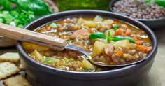 ***Slow-Cooker Smoked Sausage LENTIL and  Bean Soup