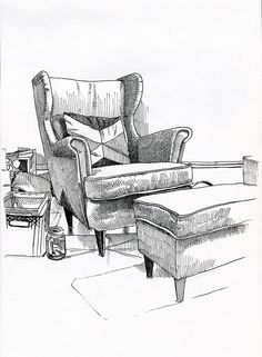 A formal living room with colorful furniture and art by elizabeth krueger design. 7 uniqueness in living room design Drawing Furniture, Chair Drawing, Drawing Interior, Interior Design Sketches, Drawing Sketches, Pencil Drawings, Art Drawings, Drawing Ideas, Draw Perspective