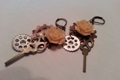 Steampunk Time Peach Rose earrings -- mixed metals by sunfleur1 on Etsy