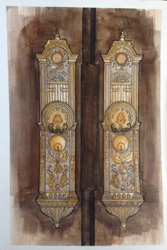 High quality Giclee print. This is a close up painting of the Salt Lake Temple doorknobs. The original painting is done in pen and watercolor