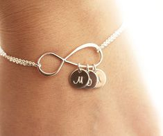Personalized Infinity Bracelet, Initial Bracelet, Sterling Silver Infinity Bracelet, Mother's Bracelet, Infinity Initial Bracelet-WANT! Mothers Bracelet, Initial Bracelet, Initial Jewelry, Initial Charm, Diy Collier, Personalized Bracelets, Bracelet Sizes, Bridesmaid Gifts, Handcrafted Jewelry