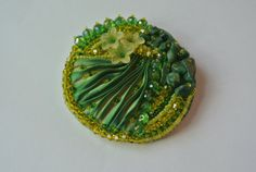 Green and yellow Bead Embroidery Brooch with shibori by Carramela