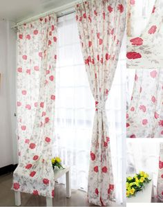 White Cotton and Poly Blending Floral Printing curtains drapes window treatments