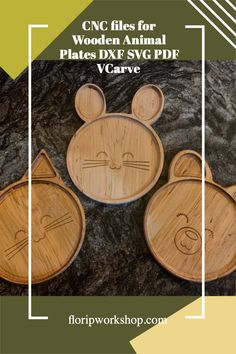 Use these files with your favorite CNC software and CNC machine to make cute, eco-friendly wooden plates for your favorite kid Animal Plates, Cnc Software, Thread Organization, Thread Holder, Wooden Plates, Wooden Animals, Family Game Night, Etsy App, Machine Quilting