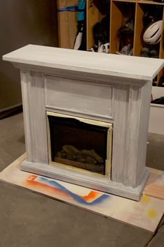 Electric Fireplace Makeover With Contact Paper Marble