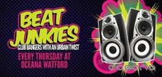 Beat Junkies On Thursday August 29, 2013 at 10:00 pm (ends Friday August 30, 2013 at 3:30 am) Summary: Oceana Watford presents a brand new Thursday night... Beat Junkies! Club bangers with an urban twist each and every Thursday night. A night not to be missed... Admission Information: £2.50 entry with a flyer / NUS Card or Guestlist before midnight, £5.00 thereafter Category: Nightlife Venue Details: Oceana, Watford, 127 The Parade, Watford, WD17 1NA, United Kingdom