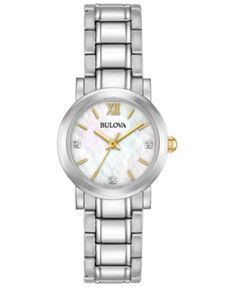 Bulova Women's Diamond Accent Stainless Steel Bracelet Watch 26mm 98P164, A Macy's Exclusive Style   macys.com
