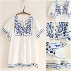 White Women Ethnic Embroidered Boho Hippie Peasant Mexican Loose Blouse Tops #Non #Blouse #Casual