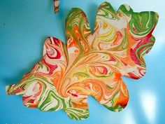 Fall  Fun!  What You'll Need: Shaving cream, acryllic paint, cardstock.  How to Do It: Squirt shaving cream into a shallow dish, and pour acryllic paint on top. Gently swirl the paint. Press a cardstock leaf cutout into the paint, then lift it out and wait to dry.
