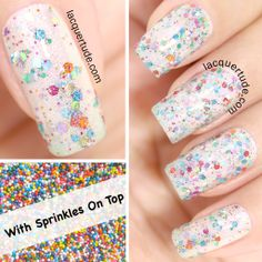"FUN Lacquer: Spring 2014 Collection Swatches & Review | Lacquertude.com This is ""With Sprinkles On Top"", currently my favorite glitter topper filled with holographic shimmer and glitters of all colors sprinkle!"