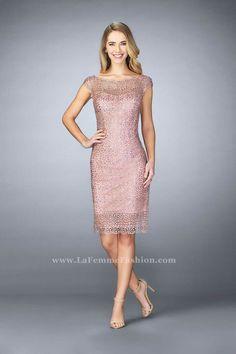 La Femme 24905 Sheer Beaded Lace Cocktail Dress