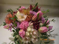Pincushions, tulips and blushing brides