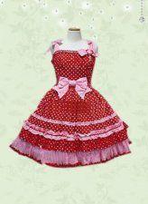 Red Polka Dot Bow Cotton Sweet Lolita Dress