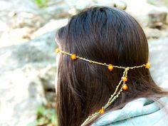Hippie style tangerine orange brown green crochet