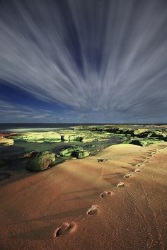 Night beach, Caloundra, Queensland, Australia