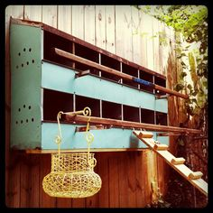 chicken coop made new. Fabulous idea for old metal nesting boxes.Fabulous idea for old metal nesting boxes. Building A Chicken Run, Chicken Nesting Boxes, Chicken Feeders, Chicken Coops, Chicken Painting, Chicken Tractors, Chicken Runs, Raising Chickens, Pet Chickens