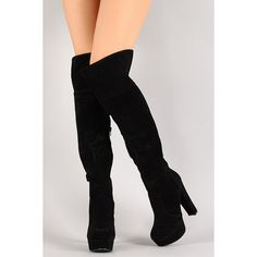 Suede Cuff Thigh High Platform Boot ($48) ❤ liked on Polyvore featuring shoes, boots, faux boots, faux-suede boots, black chunky heel boots, black suede over the knee boots and black over-the-knee boots