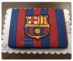 FC Barcelona Cake for all Barca Fans! Bolo Do Barcelona, Barcelona Party, Barcelona Team, Barcelona Shirt, Messi Birthday, Football Birthday, Ronaldo Real Madrid, Real Madrid Football, Soccer Cake